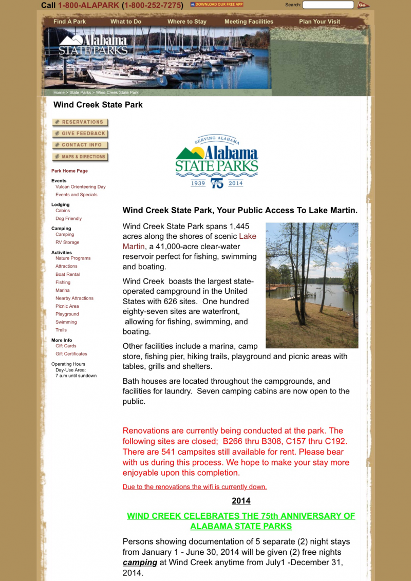 Click On Picture For Wind Creek State Park Link
