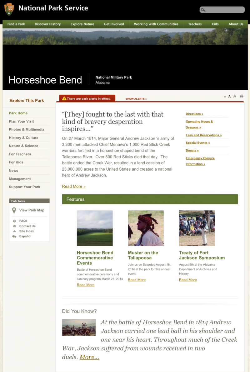 Click On Picture For Horseshoe Bend Park Link