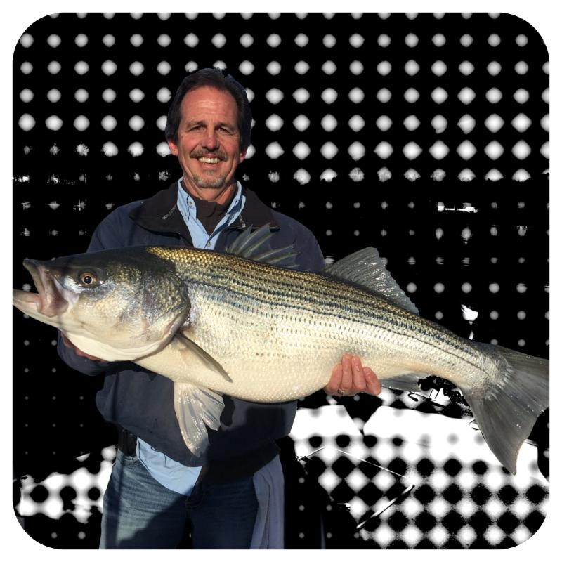 Client Holding A Nice Smith Lake Striped Bass - Fishing 24-7 Guide Service