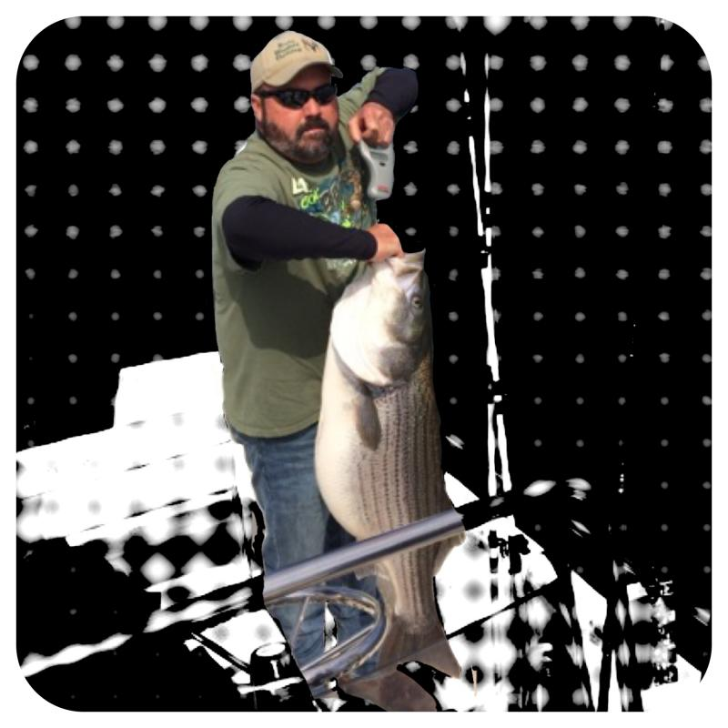 Coosa River Guide Service - Jeremy Veitch's Client Holding A Big Striper